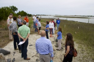 Group training at living shoreline site