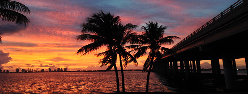 Sunset over Biscayne Bay in Miami