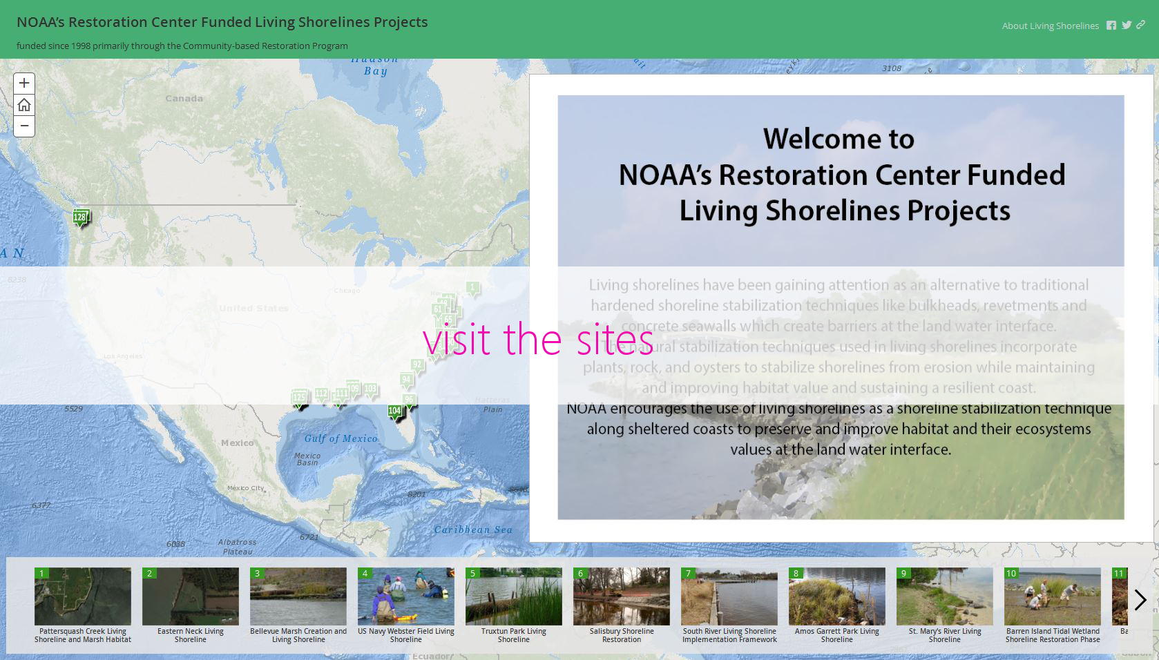 Living Shorelines Project Map NOAAs Habitat Blueprint - Us map of private property