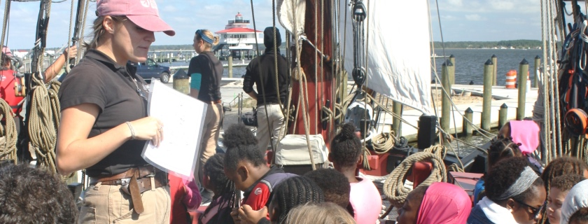 Educators on board the Sultana introduce students from Dorchester County, Maryland, to the Choptank River.