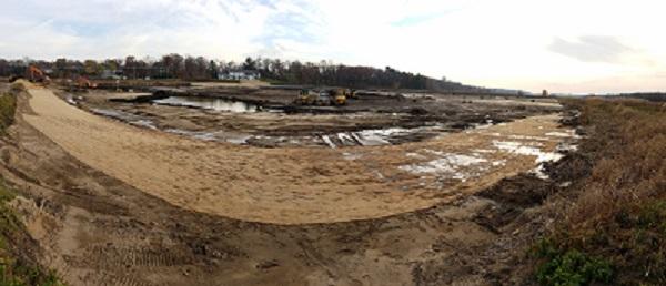 Bear Creek West pond under construction 14nov2016