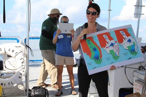 Miami Waterkeeper's Executive Director, Rachel Silverstein, leads a boat tour for elected officials and community leaders on Biscayne Bay.