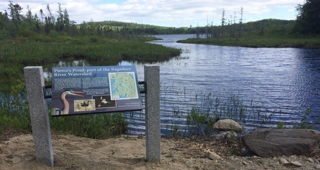 Interpretive panel at Pierce's Pond in the Bagaduce Watershed. A nature-like fishway was recently installed to restore alewife passage into the pond. Credit: Catherine Schmitt (Maine Sea Grant).