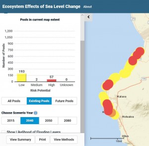 This interactive tool enables planners and managers visualize impacts of future development and rising sea levels on anchialine pools to help prioritize restoration and conservation efforts.